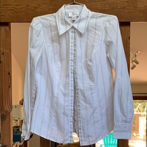 White with grey detail button-up